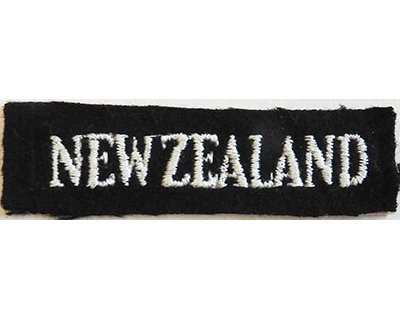 CST006. NEW ZEALAND, white on black straight stitch on type WWII