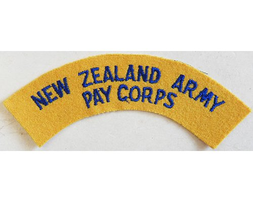 CST014. NEW ZEALAND ARMY PAY CORPS, dark blue on yellow