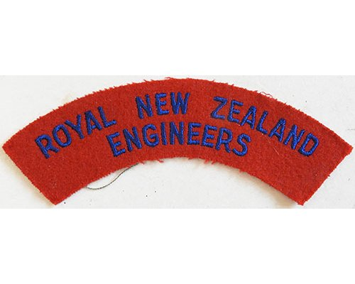 CST039. ROYAL NZ ENGINEERS, blue on red