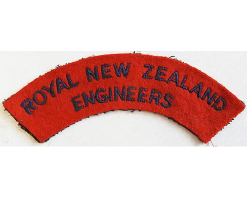 CST041. ROYAL NZ ENGINEERS, very dark blue on red