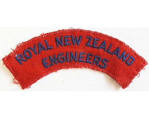 CST042. ROYAL NZ ENGINEERS, very dark blue on red, stitched edge