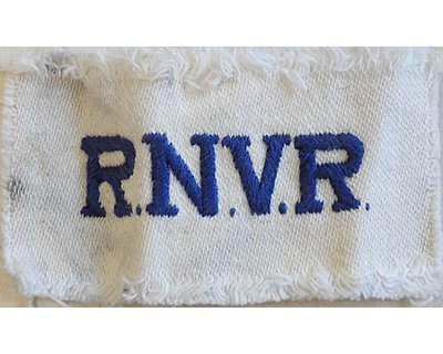 CST064. R.N.V.R. blue woven on white cotton