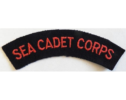 CST066. SEA CADET CORPS red woven on black wool
