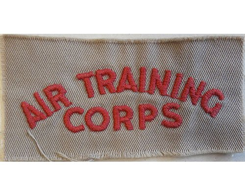 CST081. AIR TRAINING CORPS, red woven on tan cotton