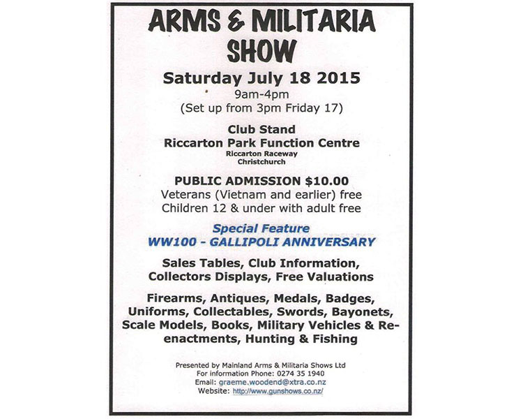 CHRISTCHURCH ARMS & MILITARIA SHOW 2015