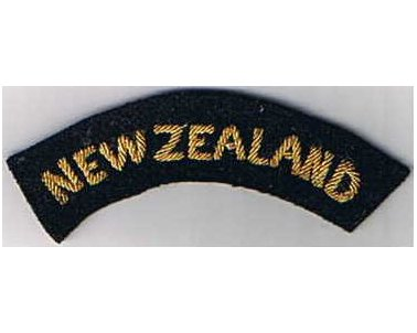 CST060. NEW ZEALAND, gold woven on black, curved type