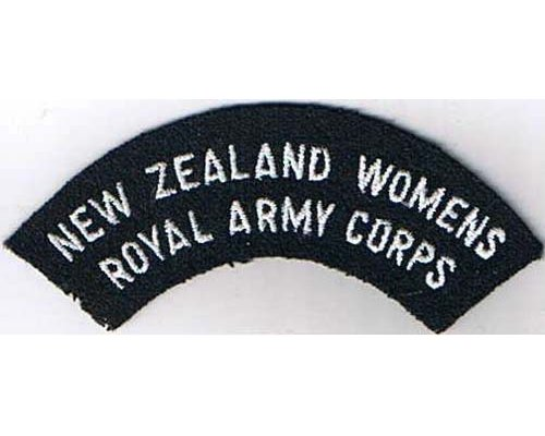CST020. NEW ZEALAND WOMENS ROYAL ARMY CORPS, white on green