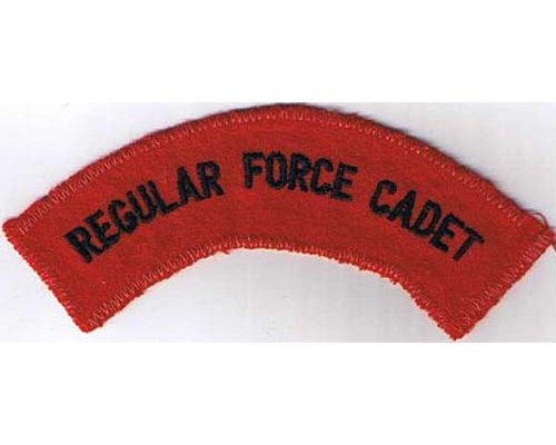 CST023. REGULAR FORCE CADET, black on red, large size