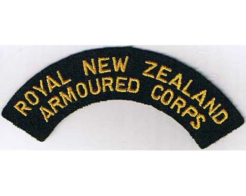 CST031. ROYAL NEW ZEALAND ARMOURED CORPS, yellow on green