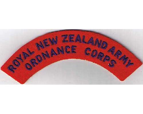 CST048. ROYAL N.Z. ARMY ORDNANCE CORPS, blue on red