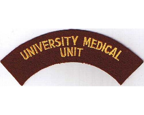 CST033. UNIVERSITY MEDICAL UNIT, yellow on dark red