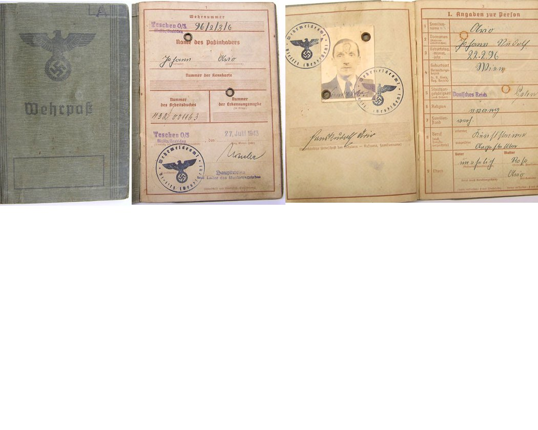 DOC013. ARMY WEHRPAS issued Teschen O/S on 27 July 1943