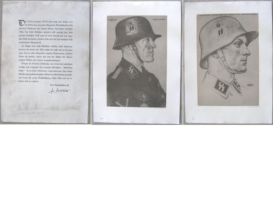 DOC050. SET OF 12 TWELVE PRINTS OF SS OFFICERS & MEN
