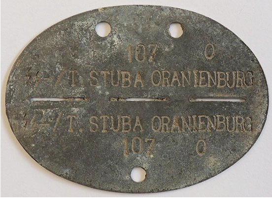 "DT2502. GERMAN WWII SS ""ORANIENBURG"" DOG TAG"