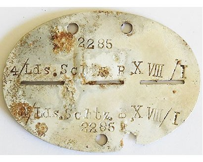 DT2507. WEHRMACHT DOG TAG – 4th Local Defence Battalion 18/I