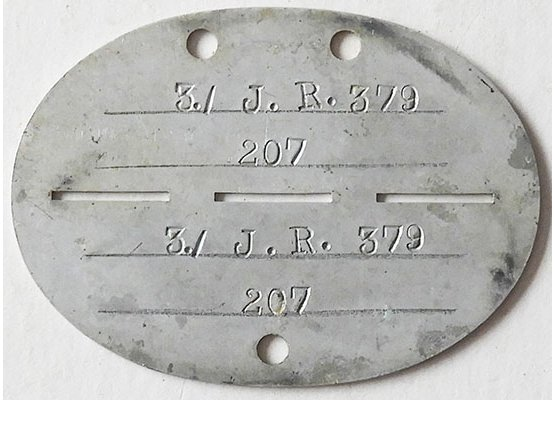DT2510. WEHRMACHT DOG TAG – 3rd Battalion, Jager Regiment 379