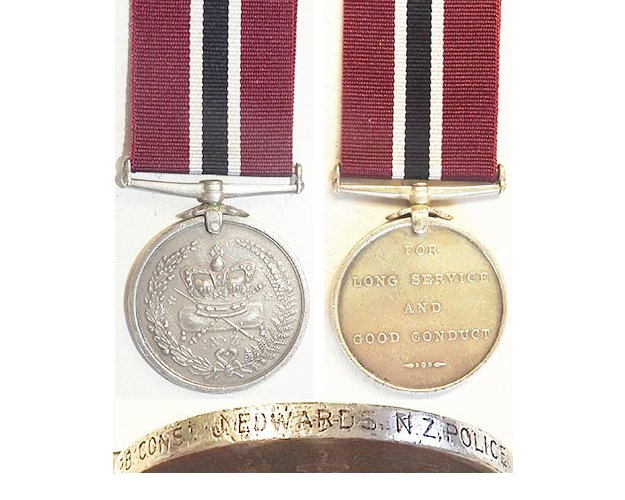 ESA110. NEW ZEALAND POLICE MEDAL - No.1198 CONST. J.EDWARDS
