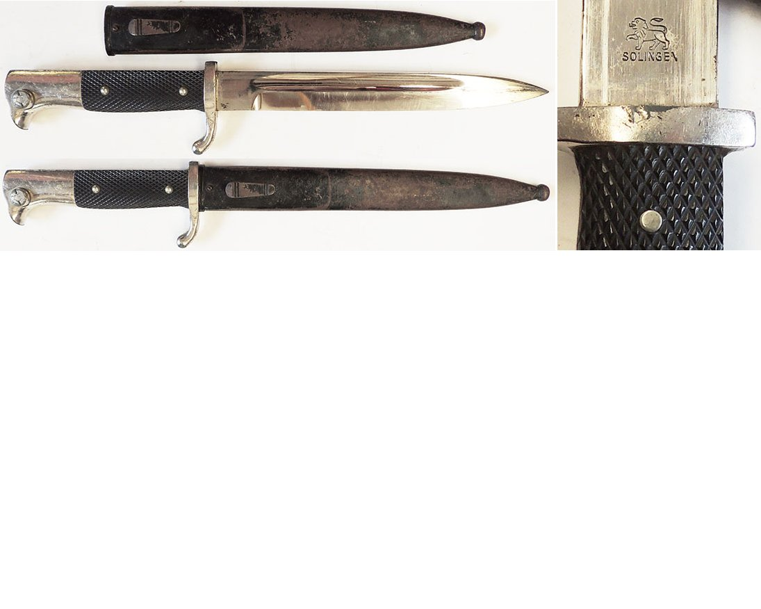 EW1820. GERMAN K98 PARADE BAYONET, 20cm nickel plated blade