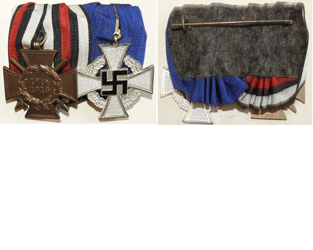 FM0454. PAIR – 1914/18 CROSS OF HONOUR & FAITHFUL SERVICE WWII