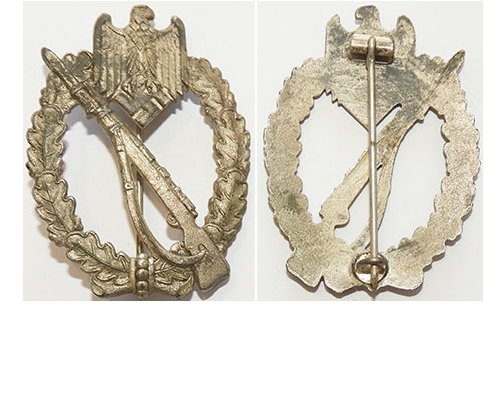 FM0498. GERMAN INFANTRY ASSAULT BADGE in silver, grey in places
