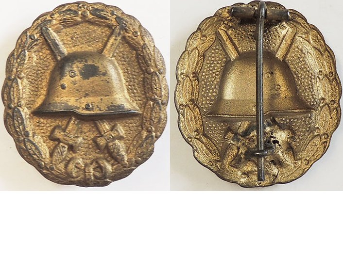 FM0620. 1914 WOUND BADGE IN GOLD, pressed steel