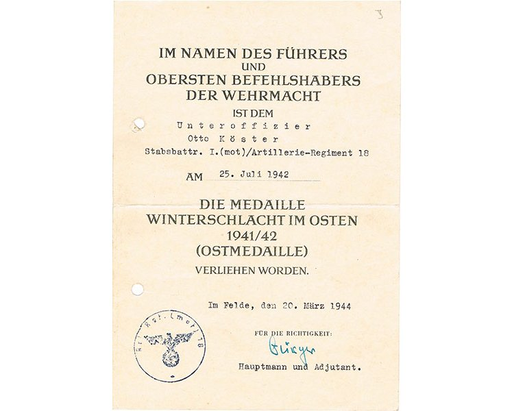 FM0622. AWARD DOCUMENT FOR RUSSIAN FRONT MEDAL - 18 Pz Mot. Arty