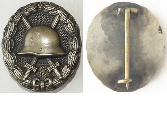 FM0622. GERMAN 1914 WOUND BADGE IN SILVER, with backing plate