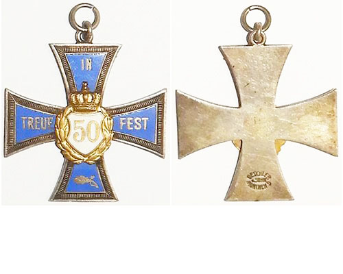 FM0634d. BAVARIA 50 YEARS VETERAN'S CROSS, blue enamel cross