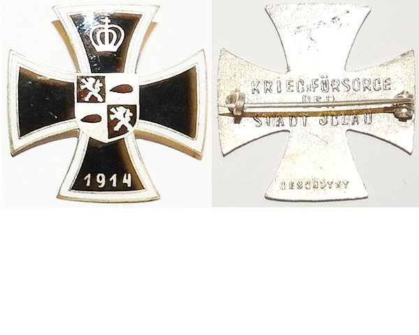 FM0634e. STADT JCLAU VETERANS CROSS 1914, enamel Maltese cross