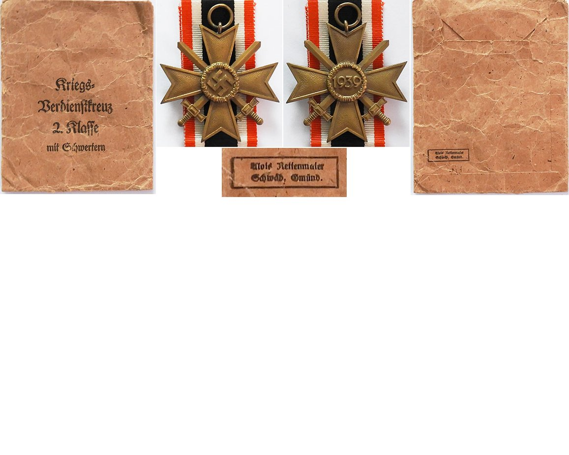 FM0656. WAR MERIT CROSS 2Cl 1939 w/swords, with packet - A.R.