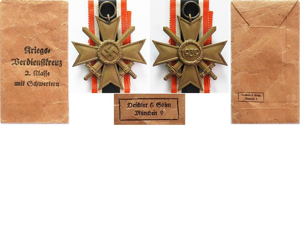 FM0657. WAR MERIT CROSS 2Cl 1939 w/swords, in packet - Deschler