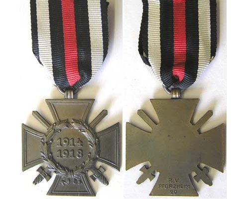 FM0662. 1914/18 CROSS OF HONOUR with swords