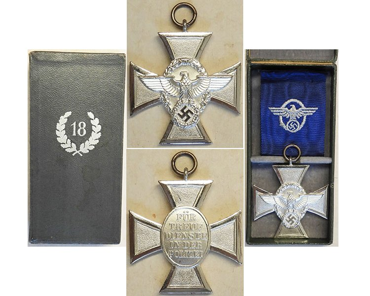 FM0689. POLICE 18yrs SERVICE CROSS, silver in box if issue