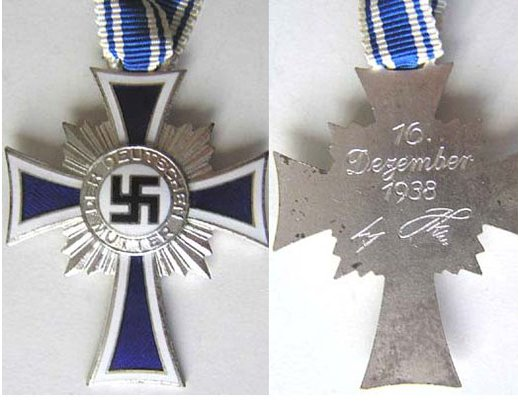 FM0708. CROSS OF HONOUR OF THE GERMAN MOTHER, 2nd Class silver