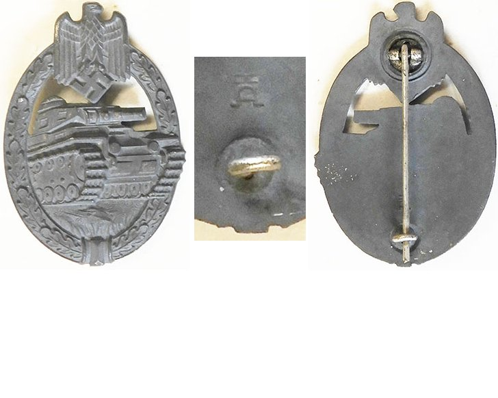 FM0743. PANZER ASSAULT BADGE in silver, maker HAD