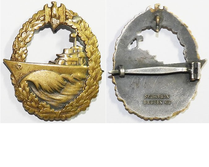 FM0746b. KRIEGSMARINE DESTROYER WAR BADGE, Schwerin Berlin