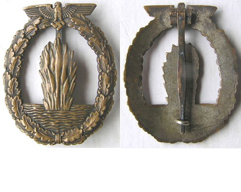 FM0748. MINE SWEEPER & SUBMARINE HUNTER BADGE, bronze