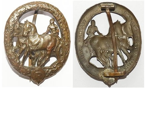 FM0751a. GERMAN HORSE DRIVER'S BADGE in bronze