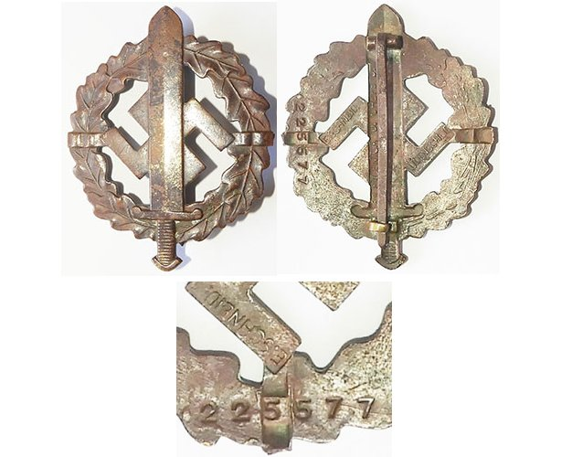 FM0752. S.A. SPORTS BADGE, traces of gilt finish numbered 225577