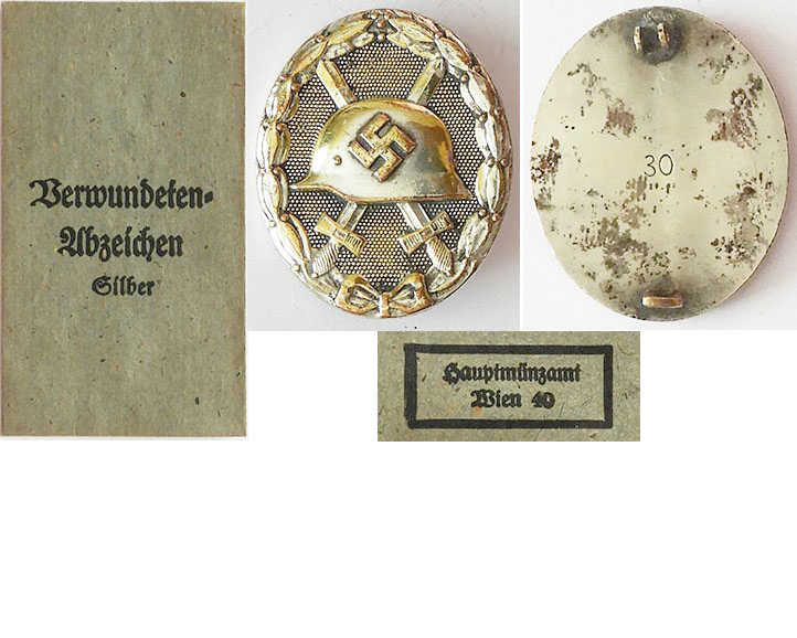 FM0762b. WOUND BADGE 1939 in silver, Hauptmunzamt Wien in packe