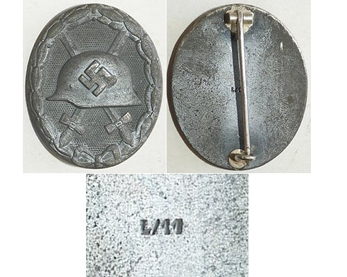 FM0766. WOUND BADGE 1939 silver, zinc, mostly turned grey - L/11