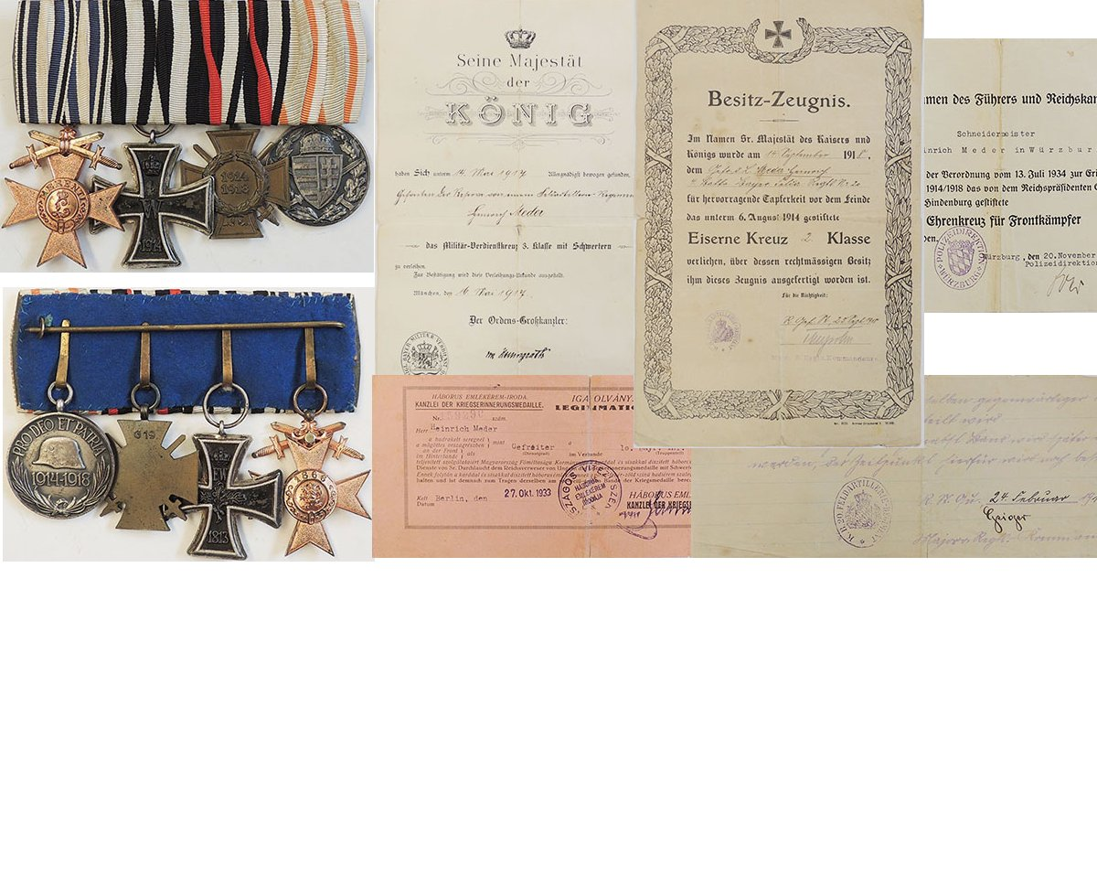 FM0771. BAVARIA GROUP OF FOUR WITH award documents