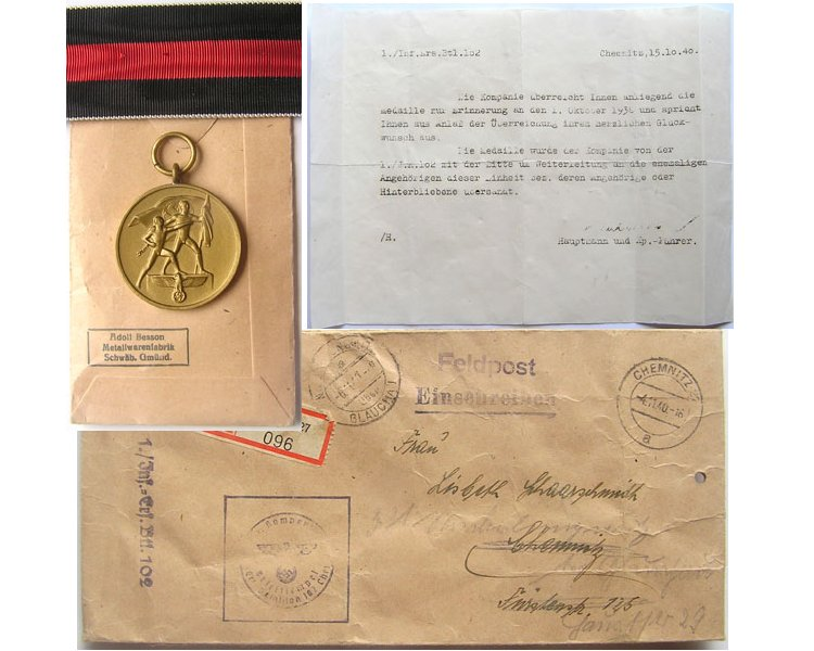 FM0779. SUDETENLAND MEDAL 1938 with packet & award letter