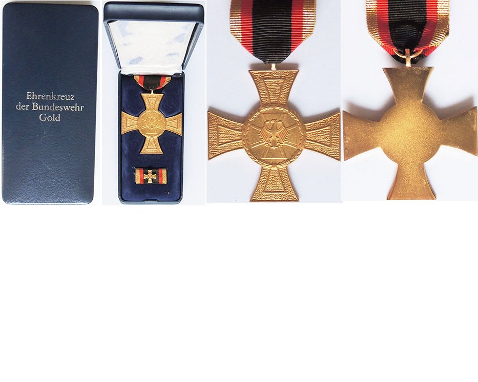 FM0792. BUNDESWEHR HONOUR CROSS in gold, with ribbon bar