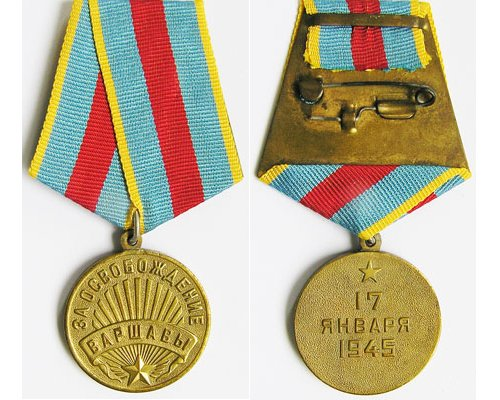 FM0875. USSR LIBERATION OF WARSAW MEDAL 1945