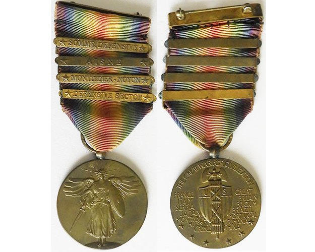 FM0992. U.S. WORLD WAR ONE VICTORY MEDAL with four clasps