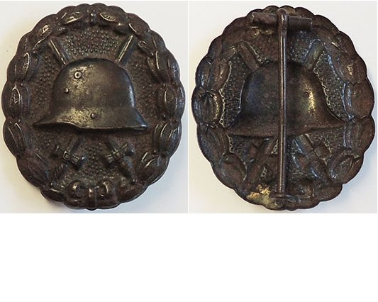 FM0624. GERMAN 1914 WOUND BADGE IN BLACK, pressed steel