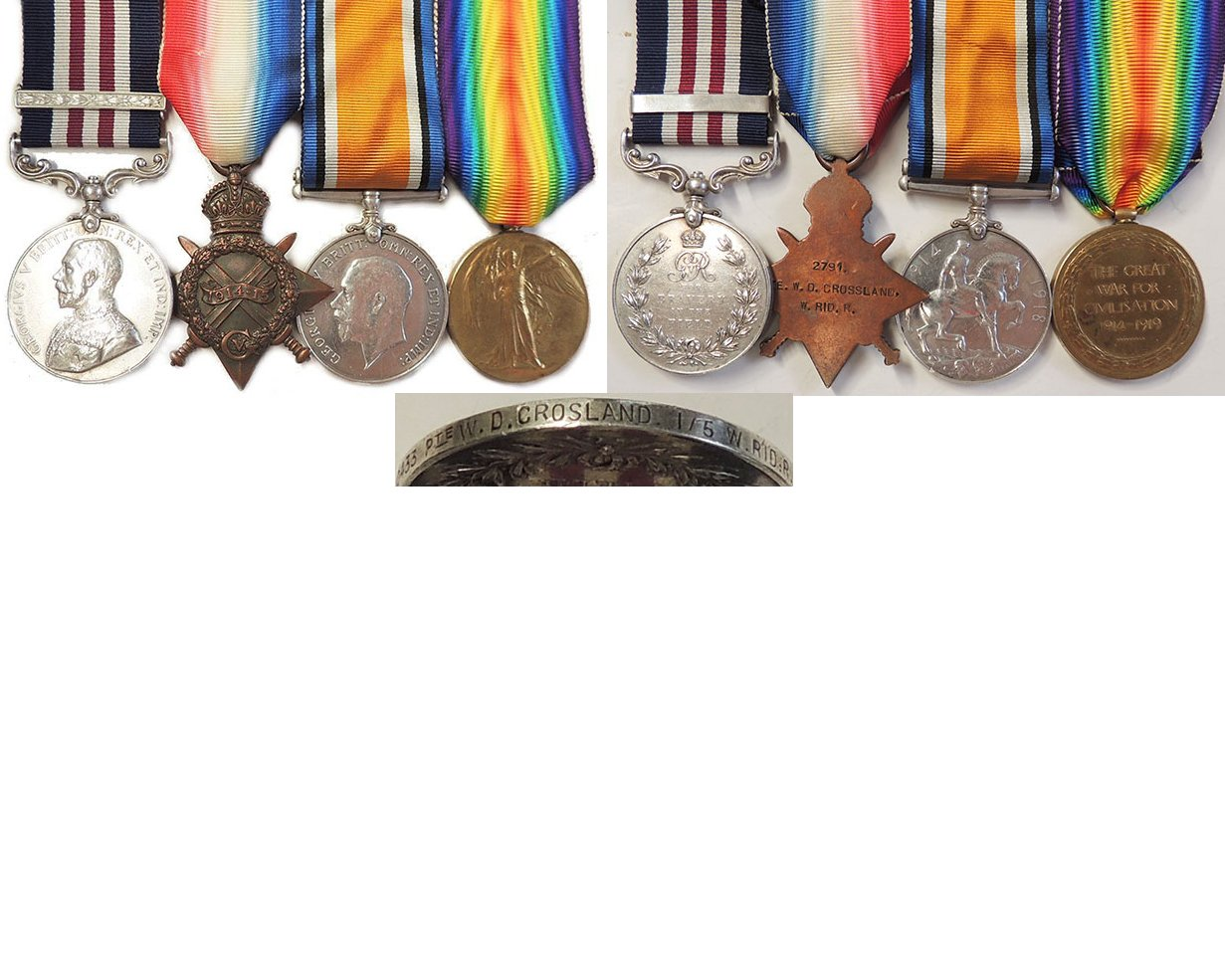 GAL017. MM & BAR WITH TRIO – Crosland, West Riding Regt.