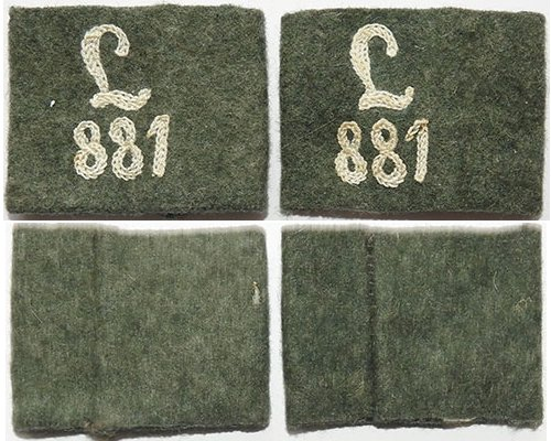 GC1245. PAIR 881 REGIONAL DEFENCE BATTALION SLIP-ON NUMBERS