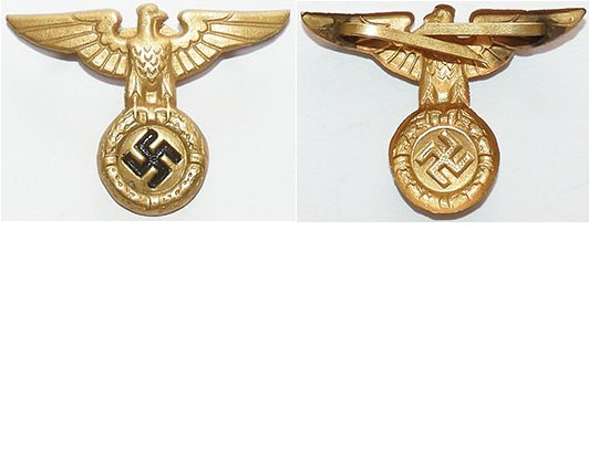 GC2113. NAZI EARLY PARTY TYPE CAP EAGLE, gilt pressed metal